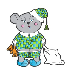 Sleepy bear in pajamas with a pillow and soft toy vector