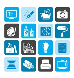 Silhouette Graphic and website design icons vector image