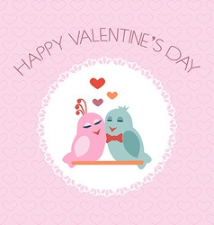 Card for valentines day birds heart label vector