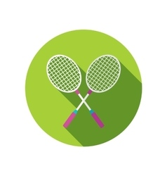 Badminton racket flat icon with long shadow vector