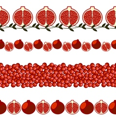 Set of elements for design borders with pomegranat vector