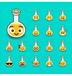 Collection of difference emoticon bottle test tube vector