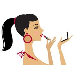 Pretty woman applying lipstick vector