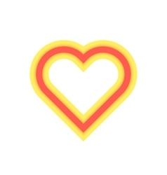 Yellow and red luminous heart icon vector