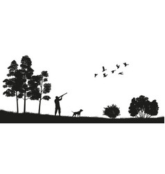 black silhouette of a hunter with a dog in forest vector image vector image