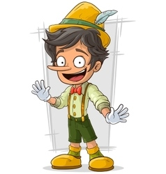 Cartoon young pinocchio with big boots and hat vector