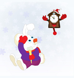 christmas card with rabbit and clock blue vector image