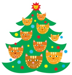 Christmas tree decorated with cats vector