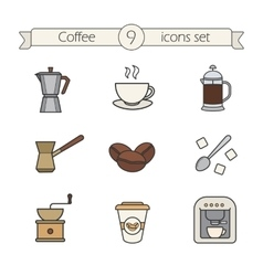 Coffee color icons set vector