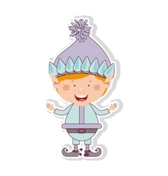color image with gnome blonde boy vector image