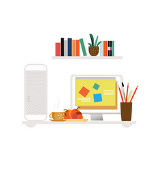 Freelancer workspace flat concept vector