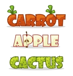 Funny textural word Carrots apple and cactus vector image