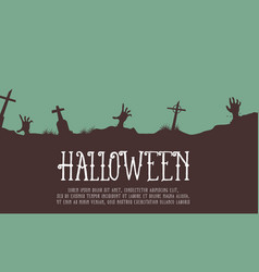 Halloween card with graveyard design vector
