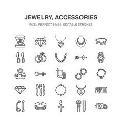 jewelry flat line icons jewellery store signs vector image
