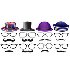 Male fashion set with glasses and hats vector image vector image