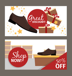 Men shoes horizontal flyers for advertising vector