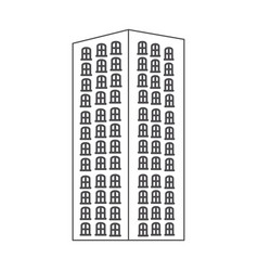 monochrome contour with apartment building vector image