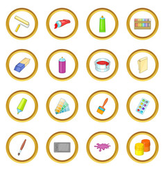 Painter tools icons circle vector