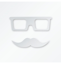 Paper Hipster Background With Glasses And Mustache vector image vector image