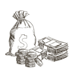 Sack or money bag stach cash coins currency dollar vector
