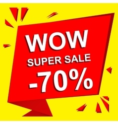 Sale poster with wow super sale minus 70 percent vector
