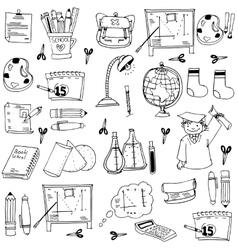 School education doodles element pencil book bag vector