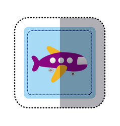 sticker square button cartoon jet airplane vector image vector image