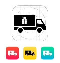 Truck with gift icon vector image