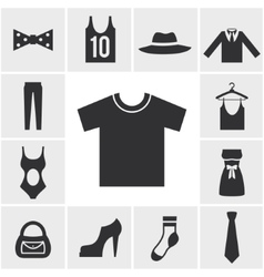 Various Monochrome Clothing Themed Graphics vector image vector image