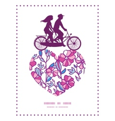 Vibrant field flowers couple on tandem bicycle vector
