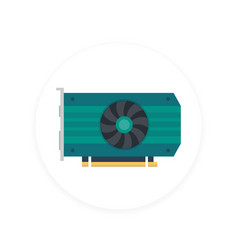 video card icon flat style vector image