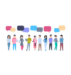 Young asian men and women group with chat bubbles vector