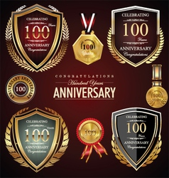 100 years anniversary labels vector image vector image