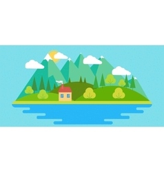 Summer landscape in flat vector