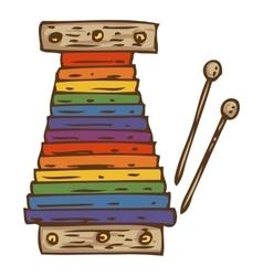 Rainbow color xylophone vector