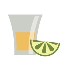 Isolated tequila shot with lemon design vector image