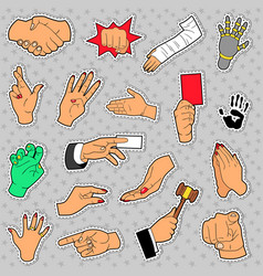 Hands and arms set with different signs vector