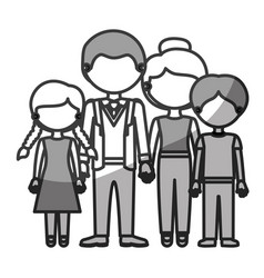 Silhouette monochrome shading faceless family vector