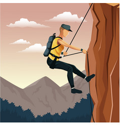 Scene landscape man mountain descent with harness vector