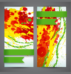 Abstract artistic colored banner set vector