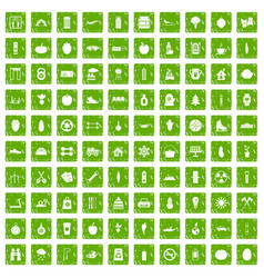 100 healthy lifestyle icons set grunge green vector
