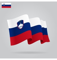 Flat and waving slovenian flag vector