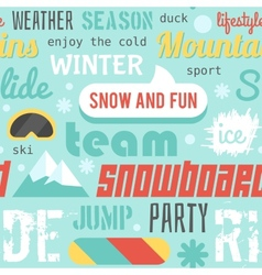 Seamless pattern with snowboarding stuff and words vector