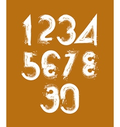 Stylish brush digits handwritten numerals white vector