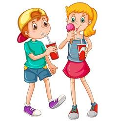 kids drinking vector image