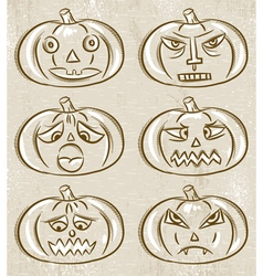 Halloween pumpkins horror persons vector