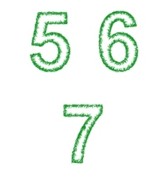 Green grass font set - numbers 5 6 7 vector