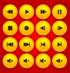Gold media player audio video icon circle button vector image