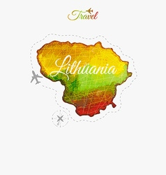 Travel around the world lithuania watercolor map vector