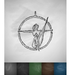 Trapeze artist icon hand drawn vector